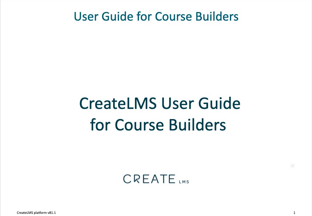 CreateLMS elearning ILT blended and course builder tools - user guide
