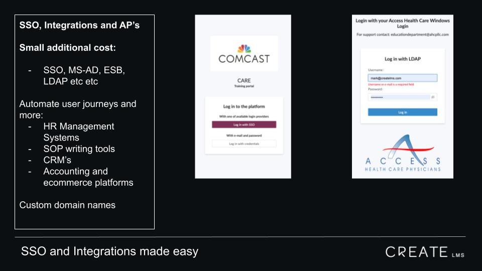 CreateLMS makes SSO, integrations and APIs easy